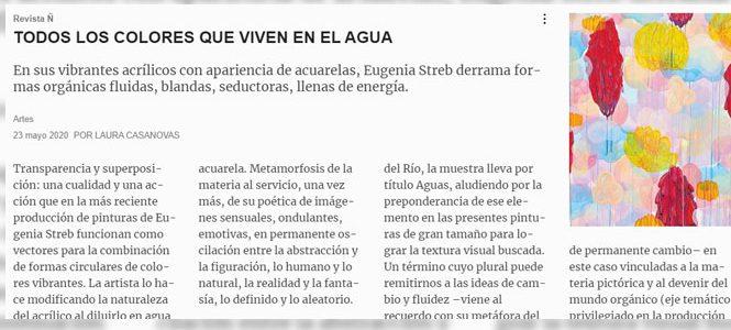 Nota sobre nuestra muestra actual AGUAS / Eugenia Streb (Genia) / Revista Ñ por Laura Casanovas